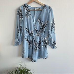 Essue - Blue Floral Romper with Flutter Sleeves